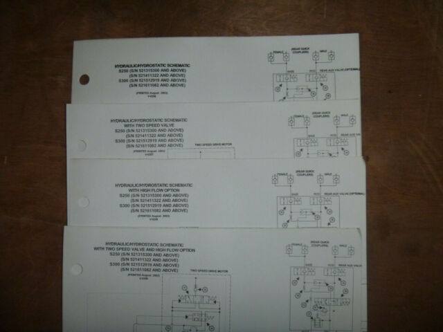 Bobcat S250 S300 Skid Steer Hydraulic Schematic Diagram Manual S  N 521512919 Up