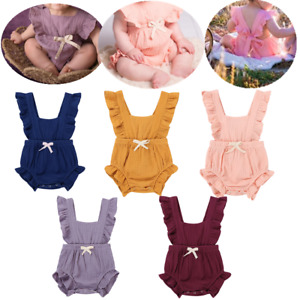 Infant-Baby-Girl-Cotton-Ruffle-Flutter-Sleeves-Romper-Jumpsuit-Outfit-Tutu-Dress