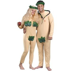 Image is loading Adam-and-Eve-Couples-Costumes-Adult-Funny-Halloween-  sc 1 st  eBay & Adam and Eve Couples Costumes Adult Funny Halloween Fancy Dress | eBay