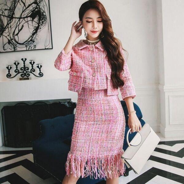 Elegante Dimensioneur manica Mademoiselle Coco rosa giacca manica  Dimensioneur lunga gonna tubino w9031 8ad354 18502a3e964