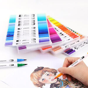 Dual-Tip-Brush-Marker-Pens-Color-Markers-Set-of-24-72-Water-based-Colors-NEW