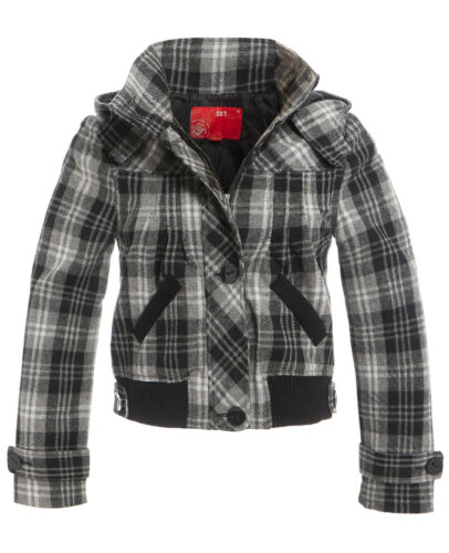 Womens Coat Hooded Check Wool Jacket Ladies Size 10 12 14 8 Grey Black New