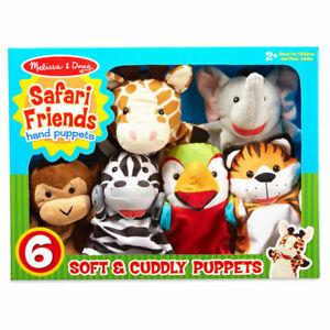 Melissa & Doug Safari Friends Animal Hand Puppets x 6 Gift Boxed Preschool Toy