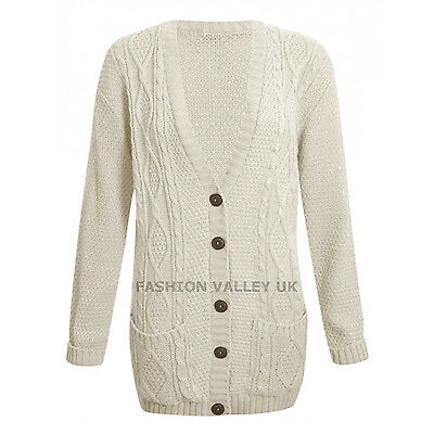 WOMENS LONG SLEEVE CHUNKY CABLE KNITTED BUTTON LADIES GRANDAD LONG CARDIGAN 8-26