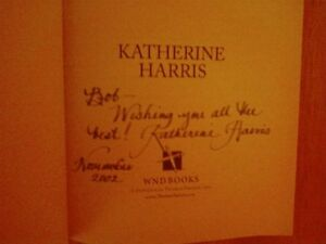 Center Of The Storm By Katherine Harris Signed hardback book