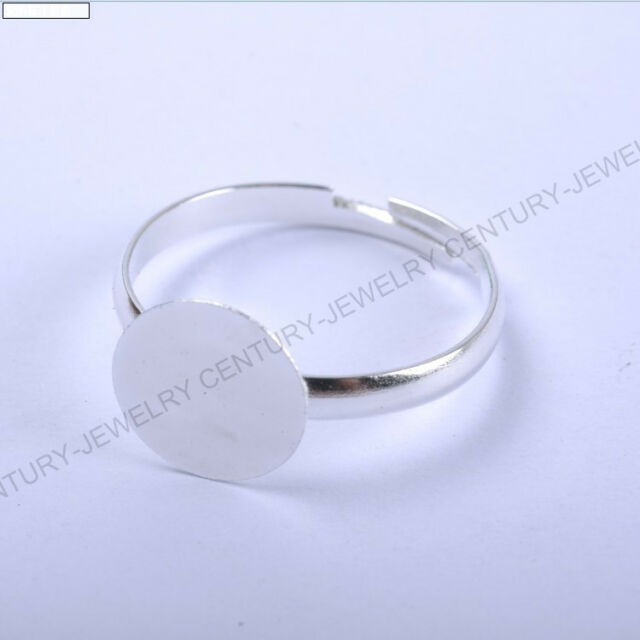 free ship 30pcs silver gold color charm Adjustable Ring Base 18mm