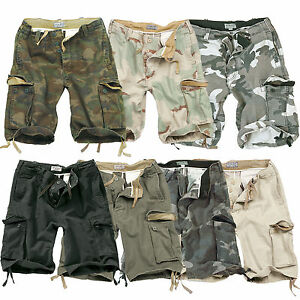 MENS-SURPLUS-VINTAGE-ARMY-INFANTRY-MILITARY-SPEC-COMBAT-CARGO-SHORTS-3-4-S-XXL