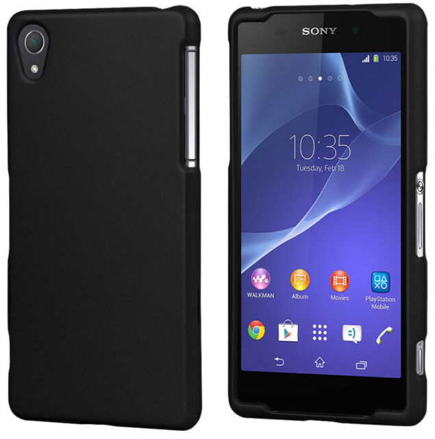 BLACK RUBBERIZED HARD CASE PROTEX COVER FOR SONY XPERIA Z2 PHONE