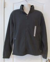 Free Country Full Zip L/s Microtech Charcoal Fleece Jacket Men's Sz L Warm