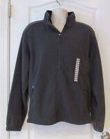 Free Country Full Zip L/s Microtech Charcoal Fleece Jacket Men's Sz L Warm