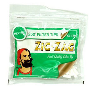 250-x-Menthol-Cigarette-Filter-Tips-Slim-Zig-Zag-Re-sealable-Bag