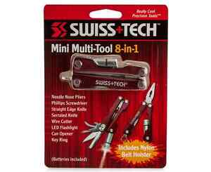 SWISS-TECH-8-in1-MINI-MULTI-TOOL-RED-2-7-8-034-CLOSED-w-NYLON-SHEATH-Au-Ship