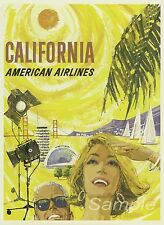 VINTAGE CALIFORNIA AMERICAN AIRLINES TRAVEL A4 POSTER PRINT