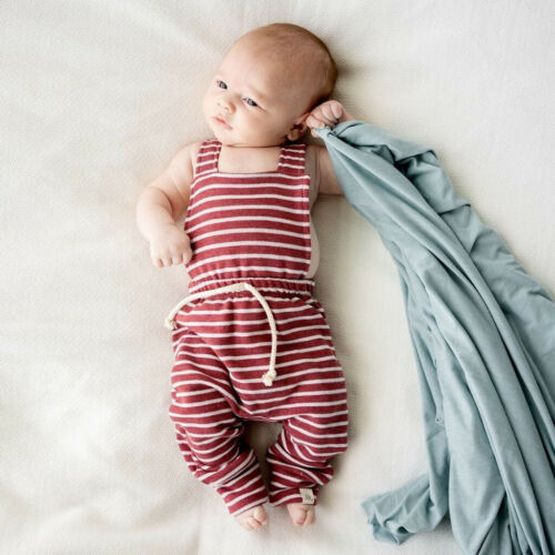 Toddler Baby Girl Boy Backless Stripe Rompers Overalls Jumpsuit Clothes Playsuit