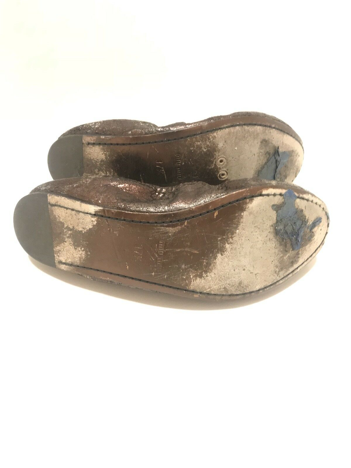 MIU MIU Rose - Dark Metallic Rose MIU Glitter Pelle Jeweled Ballet Slipper Flats 7 37.5 da15d7