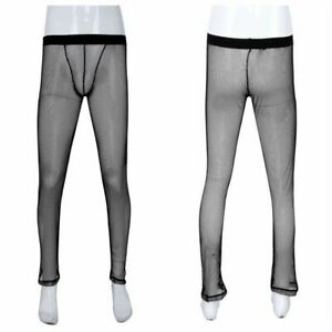Sexy-Underwear-Mens-Sheer-See-through-Long-John-Pants-Trousers-Home-Lounge-Pants