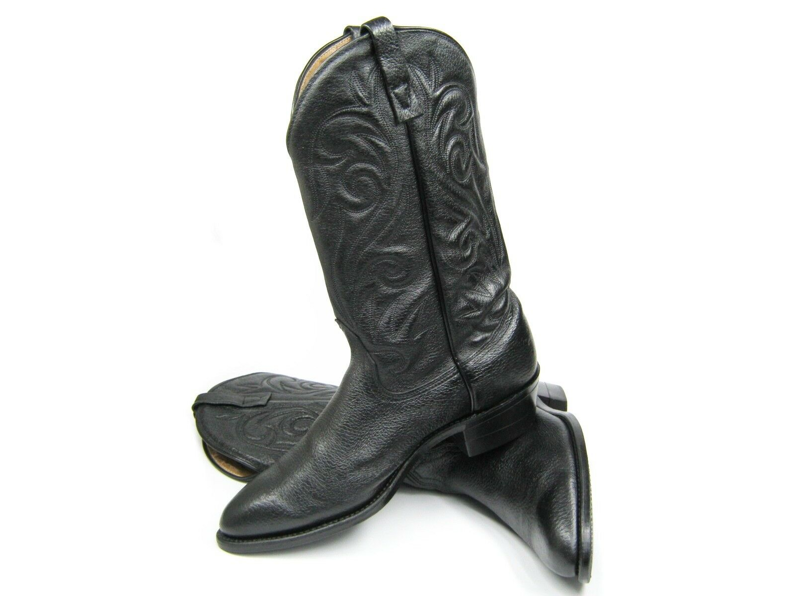 Klassiker Herren Cowboy Western Stiefel Lederstiefel Schwarz Grosse 43 44 11 Top