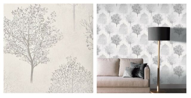 Arthouse Mono Wonderland Tree Grey Silver Glitter Wallpaper, 256701 SAMPLE ONLY