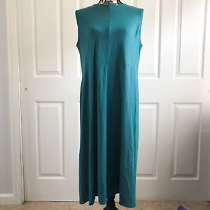 J-JILL-WEAREVER-COLLECTION-Maxi-Dress-Teal-Size-L-Sleeveless-Solid-NWT-99