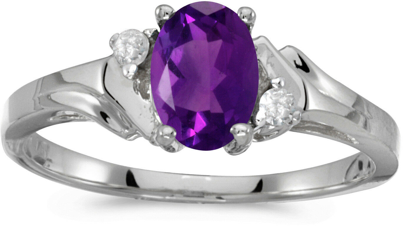 10k White gold Oval Amethyst And Diamond Ring (CM-RM1248W-02)
