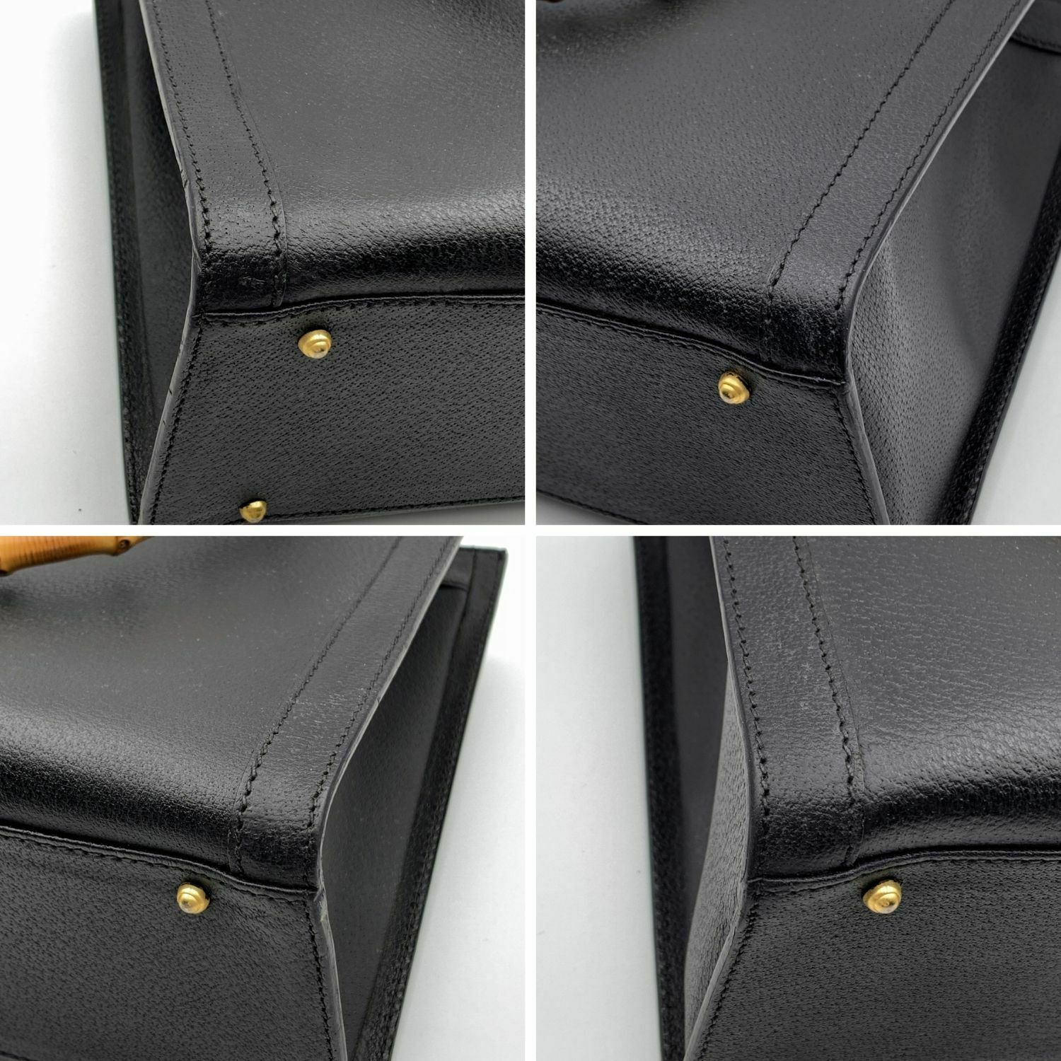 Authentic Gucci Vintage Black Leather Bamboo Prin… - image 7
