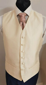 W-1109-MENS-BOYS-PALE-GOLD-PATTERNED-WAISTCOAT-PARTY-FORMAL