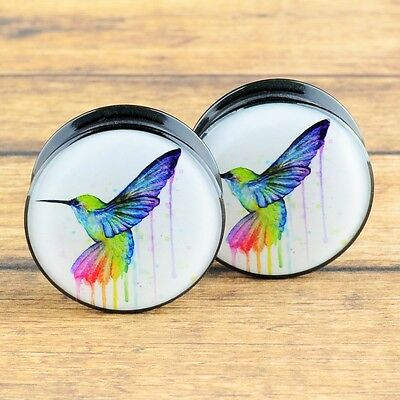 Pair Acrylic Ear Gauges Plugs Flesh Tunnels Expanders Screw Hummingbird