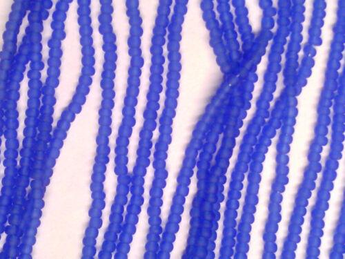 VTG 1 HANK BLUE TRANSLUCENT MATTE GLASS SEED BEADS 11//0 #122518q