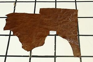 "Smooth ""California Scrubland"" Brown Scrap Leather Hide Approx. 5 sqft. RK21M22-7"