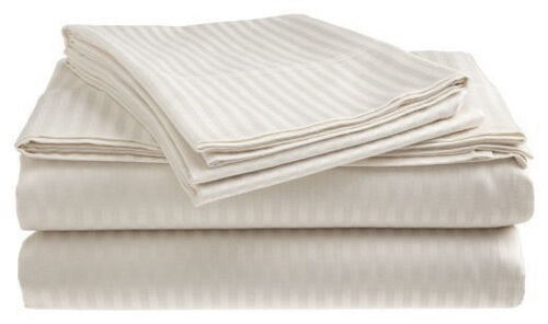 300 Thread Count 100/% Cotton Sateen Sheet Set Dobby Stripe 2 PACK:Deluxe Hotel