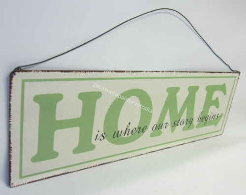 Large Rustic Tin Sign Home Is Where Our Story Begins New Wall Hanging Decoration