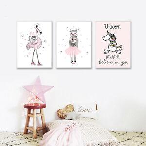 Kawaii-Girl-Unicorn-Flamingo-Cartoon-Canvas-Poster-Wall-Art-Print-Kid-Room-Decor