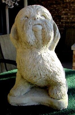 LIFE SIZE CONCRETE SHIH TZU STATUE MEMORIAL OR USE AS A GRAVE MARKER