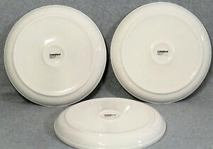 CRATE-amp-BARREL-STAXX-White-10-1-4-Porcelain-Dinner-Plates-Coupe-Set-Of-3-EUC