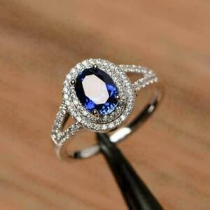 1-70Ct-Oval-Cut-Blue-Sapphire-Diamond-Halo-Engagement-Ring-14K-White-Gold-Finish