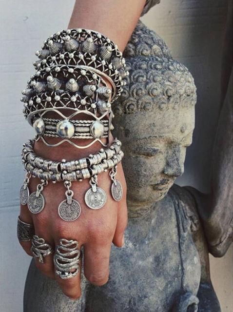 Hot  Silver Coin Drop Belly Bracelet Dance Ethnic Bohemian Jewelry