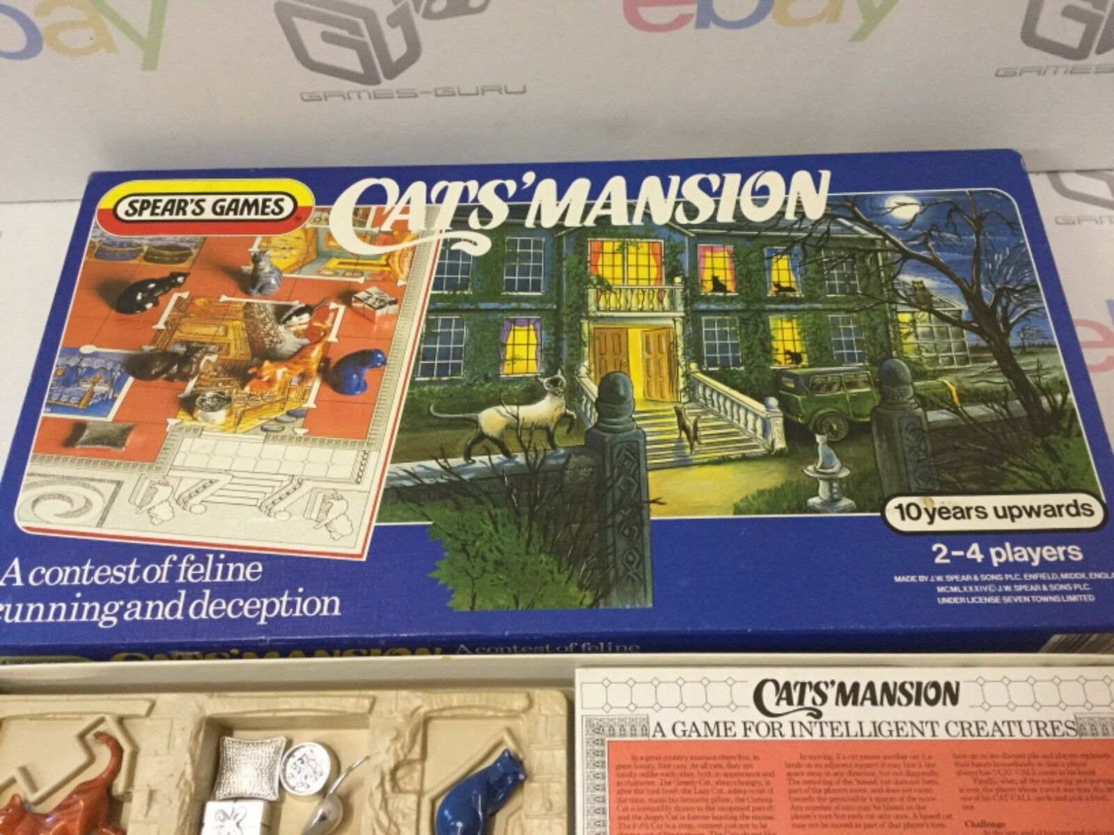 Cat's Mansion (Spear's Games, 1984) - Complete Board Game Complete retro vintage
