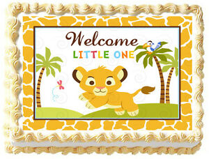 Baby Shower Cake Decorations Edible : BABY LION Baby shower PARTY Image Edible cake topper decoration eBay