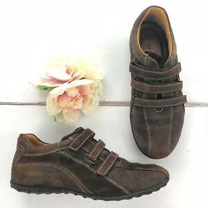 uk store running shoes cheap for sale Details about GEOX Respira Brown Suede Leather Sneakers Shoes Women's Size 7