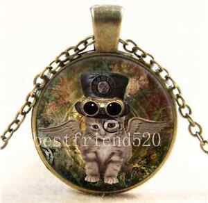 Vintage Steampunk Cat Photo Cabochon Glass Bronze Chain Pendant Necklace