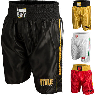 Title Boxing Golden Boy Pro Style Lightweight Boxing Trunks Lustrous Sporting Goods Shorts