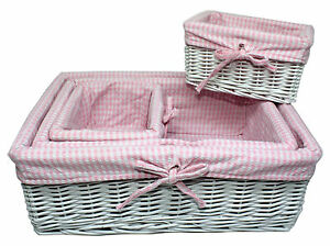 Image Is Loading Shabby Chic Fabric Lined Willow Storage Baskets Pink