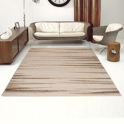 Designer Teppich Wohnzimmer Teppichboden Modern Bordüre in Creme Preishammer