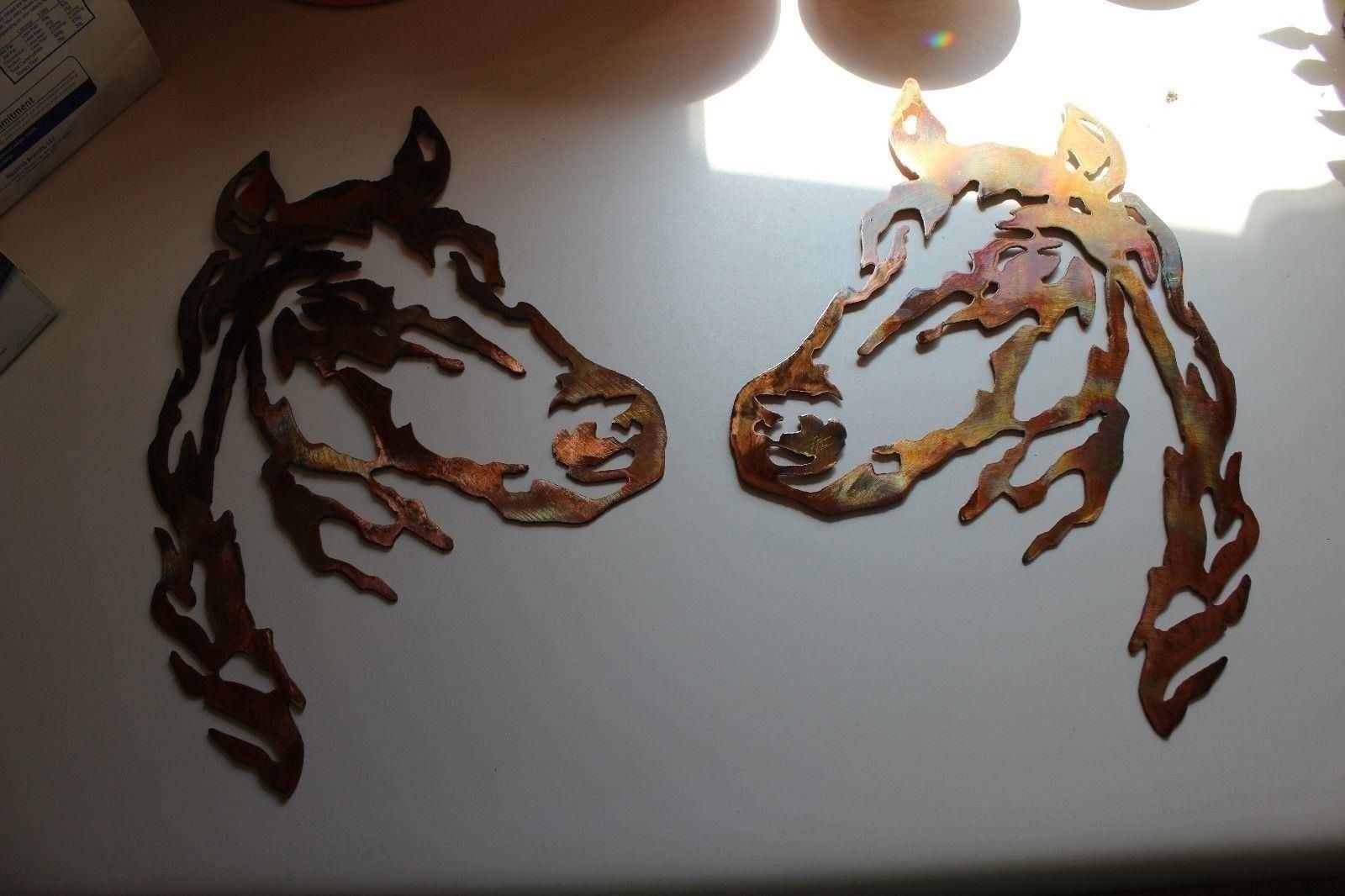 Tête de Cheval Métal Art Mural Paire de 2 Grandes Western Décor