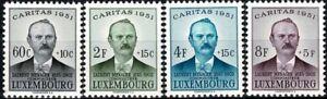 Lussemburgo LUXEMBOURG 1951 Caritas Laurent Menager frase posta FRESCHI MNH ** kw:45 €