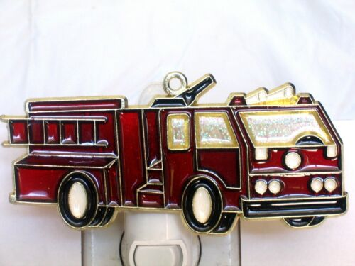 STAINED GLASS STYLE FIRE TRUCK #2 NIGHT LIGHT GREAT GIFT FOR ALL!