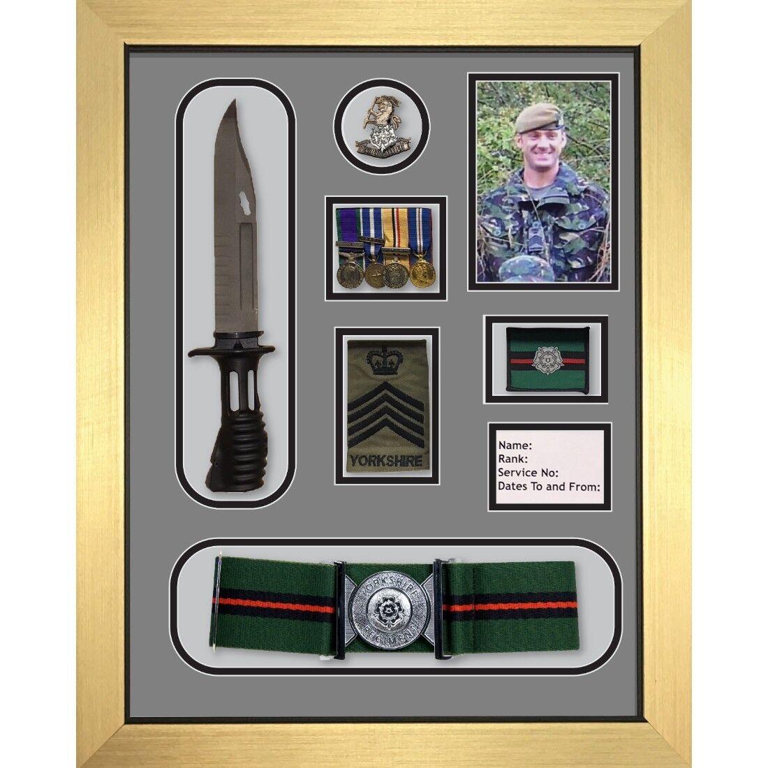 Yorkshire reggimento MEDAGLIA Frame, Frame, Frame, Cappello Distintivo Cintura E Berretto Cap War Medal Display Frame e25fef