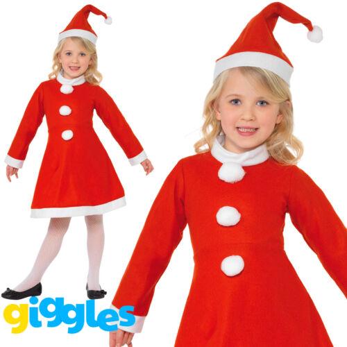 Filles little miss santa claus noël smiffys fancy dress costume costume /& chapeau