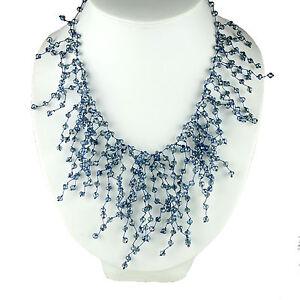 17 Unique Crystal Bead Fringe Statement Necklace Bib Jewelry Women Accessories
