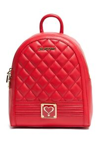 a9bcfef7c47ea Image is loading NWT-LOVE-MOSCHINO-Backpack-Quilted-Red-Faux-Leather-